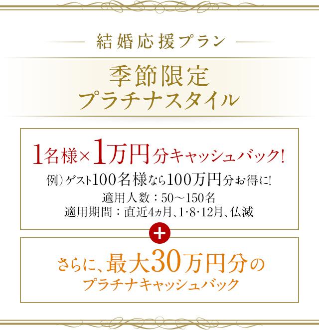 季節限定プラチナスタイル 1名様×1万円分キャッシュバック